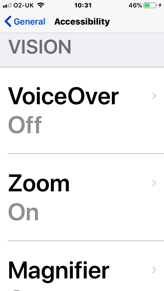 Zoomed large text of the beginning of the vision accessibility settings on iphone. The accessibility menu displays, vision, voice over off, zoom on, magnifier