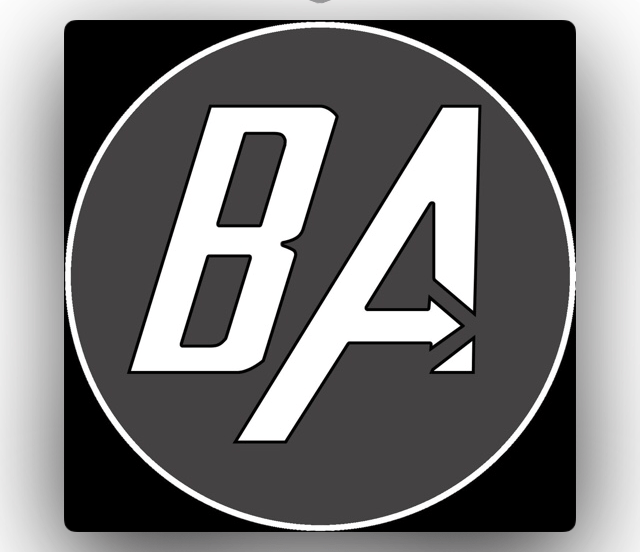 Blind Abilities Logo. Taken from Apple Podcast app. A black background with grey circle and the letter B and A in bold white text. The horizontal of the A is an arrow.