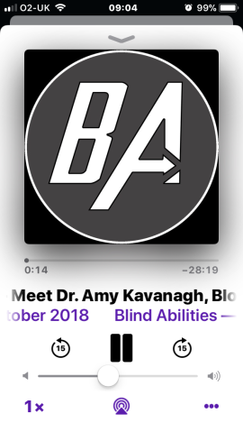 Screen shot of iphone playing apple podcast. Podcast Blind Abilities. The logo is a large grey circle on a black background, with the letter B and letter A in white bold font. The horizontal line of the A is an arrow. The text reads 'Meet Dr. Amy Kavanagh'.
