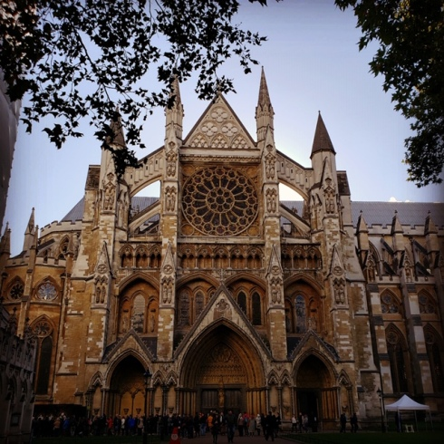 A striking photo of Westminster Abbey. The front of the Abbey with it's ornate round windows, carved columns and pillars, arches and spires loom over the photo. Taken from underneath a tree a few leafy branches frame the picture echoing the architecture. A grey blue sky rises behind.