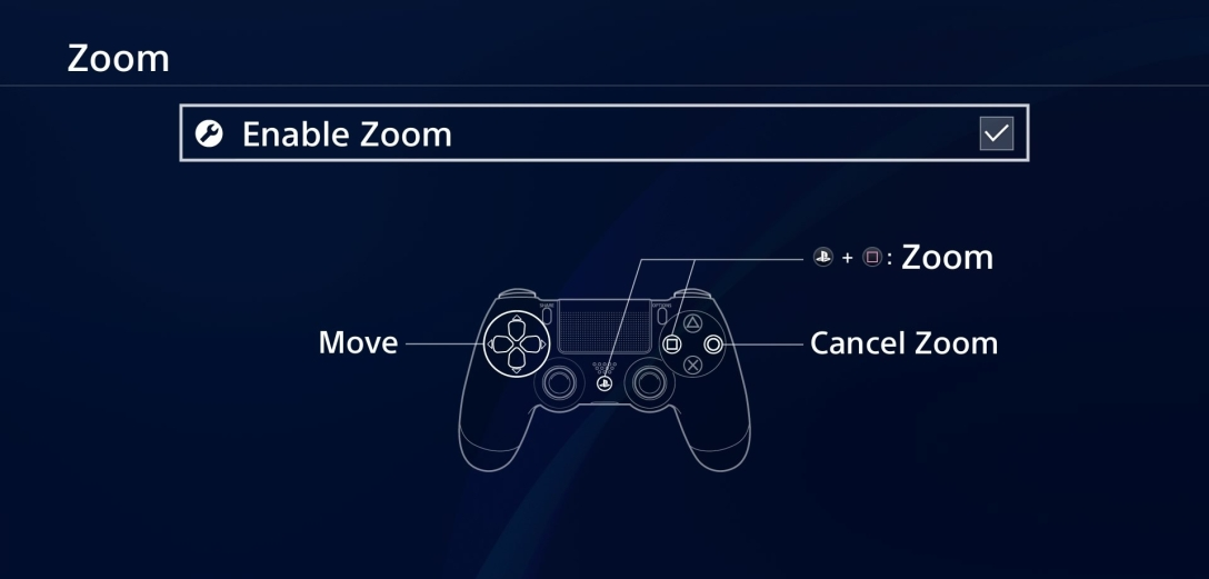 Image shows Playstation menu screen. Blue background with white text. The enable zoom option is selected, with instructions displaying how to enable and disable the zoom by holding the square and ps4 button.