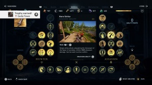 Assassin's Creed menu, a similarly small selection of black on yellow images, when you hover on the image a box pops up with a description and video of the skill or move.