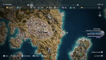 A map of greater Athens from Assassin's Creed Odyssey. The cluttered and details map is a myriad of symbols and geographical features.