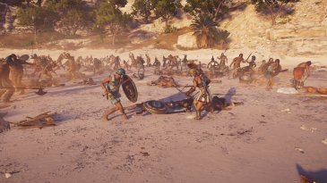 An ancient greek battlefield. Two Characters fight in armour with shields and swords, they look almost balletic against the carnage behind them. From Assassin's Creed Odyssey.
