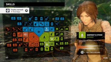 Shadow of the Tomb Raider Skills menu. A complicated pile of boxes, many of which are very small with small images on. The side bar gives a description in tiny text.