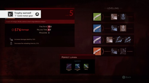 Menu for weapons on Vampyr, it's simple, although dark. It has different colour box options for the levelling up of the weapons and clear text descriptions.