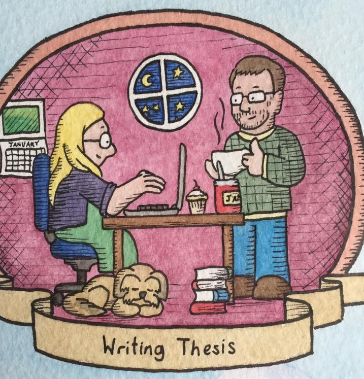 A cartoon image. A cartoon Amy sits at a table, typing on a laptop. A dog sleeps at her feet. Cartoon Other Half in a jumper holding a steaming cup gives Amy the thumbs up. In the background a window showing a night sky. The label underneath reads, writing thesis.