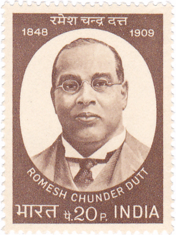 A stamp of Romesh Chunder Dutt, a balding Indian man with small round glasses. The stamp has bengali text on it and reads in english 1848 to 1909, 20p, India.